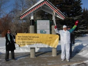 Yorkton banner Jo and Torch bearer