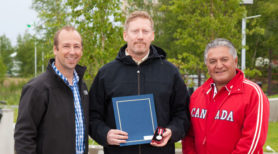 From left to right: MLA Robert Hawkins, Diamond Jubilee medal recipient Julian Tomlinson and Commissioner of the Northwest Territories, George L. Tuccaro.