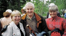 Linda Strong-Watson, the Honourable Peter Lougheed, Betty Anne Graves attend the unveiling of the Canmore Pavilion on June 4, 2005.