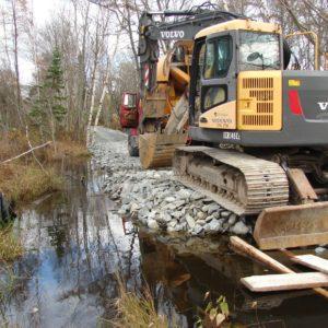 Bissett Trail Bridge construction on East side of Bissett Brook