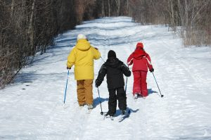 One adult and two children in snowsuits cross country skiing on a trail.