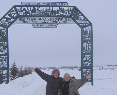 Valerie Pringle and Linda Strong-Watson at the Iron Horse Trailhead