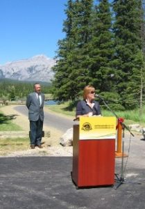 Valerie Pringle addresses the crowd at Banff Legacy Trail opening