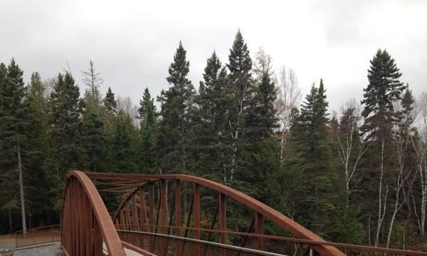 New 40-metre pedestrian footbridge in Trowbridge Falls Park, Thunder Bay.