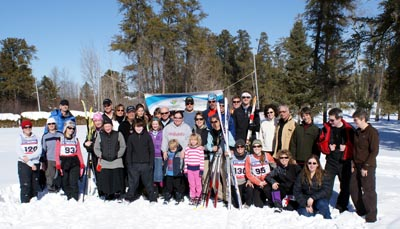These smiling folks had all just finished skiing 21, 14 or 7 kilometres. They were shuttled to different trail heads on the Beaten Path Nordic Trail system and skied their way back to the community centre via the new, local Trans Canada Trail. Photo: Michael McKinnon, Atikokan Progress.