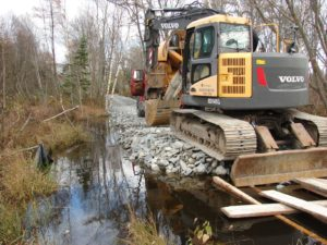 Bissett Trail Bridge construction on East side of Bissett Brook