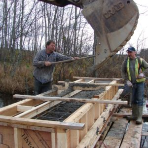 Bissett Trail abutments being poured
