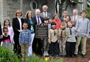 The plaque unveiling at 24 Sussex on May 24, 2013. In the back row, Valerie Pringle (Trans Canada Trail Foundation Co-Chair), Mrs. Laureen Harper (Honorary Chair of the TCT Chapter 150 Campaign), His Excellency Governor General David Johnston (TCT Honorary Patron), Hartley Richardson (Trans Canada Trail Foundation Co-Chair), Her Excellency Sharon Johnston (TCT Honorary Patron), Deborah Apps (Trans Canada Trail President & CEO), and Paul LaBarge (Trans Canada Trail Chair). Photo by Blair Gable