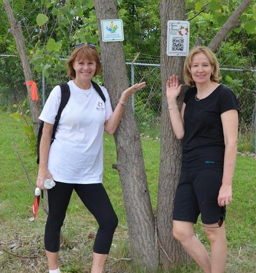 Valerie Pringle and Laureen Harper at Kilometre 31 on the 32-kilometre Laura Secord Legacy Trail.