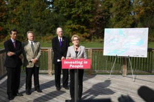 Premier Wynne makes Pan Am Trails Announcement at Greenwood Conservation Area in Ajax. (Photo: Queen's Printer for Ontario)