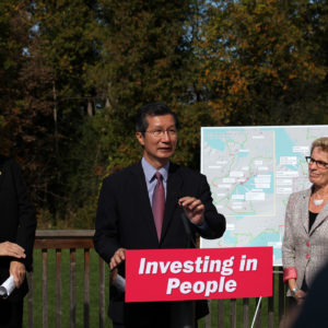 Michael Chan, minister of tourism, culture and sport, at the Pan Am Trails Announcement. (Photo: Queen's Printer for Ontario)