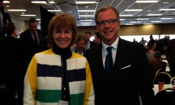 Saskatchewan Premier Brad Wall with TCT Foundation co-chair Valerie Pringle at the 2014 convention of the Saskatchewan Association of Rural Municipalities (SARM). Valerie presented TCT's plan to connect the Trail by 2017. She received enthusiastic support from the 1,000 municipal officials in attendance.