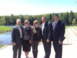 From left to right: George Burton, President and CEO, Canadore College; Jennifer McCourt, Discovery Routes Trails Organization;  Valerie; Mayor Al McDonald, North Bay; Dr. Mike DeGagne, President and Vice-Chancellor, Nipissing University.