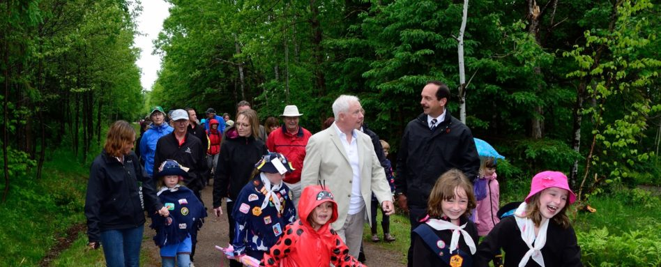 His Excellency the Right Honourable David Johnston, Governor General of Canada took a walk along the TCT Confederation Trail in PEI on June 15, 2014.  Credit: Sgt Ronald Duchesne, Rideau Hall (2014)