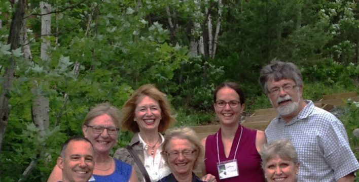 Front from left to right: Mark Signoretti, Friends of Lake Laurentian; Ursula Sauve, President, Rainbow Routes Association; Deborah Apps, president & CEO, Trans Canada Trail Back from left to right: Lin Gibson, Conservation Sudbury; Sheila Arena, Friends of Lake Laurentian; Cortney St. Jean, Rainbow Routes Association; Al McPherson, Trans Canada Trail Ontario