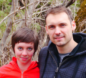 Sarah McCauley and her partner, Oskar Nowicki, on the Trans Canada Trail near the village of Inglewood, Ontario