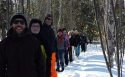 Participants in a group snowshoe along the newest section of the TCT in Trenton, Nova Scotia on February 15, 2015