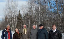 Dave Hoffman, Oxford & Area Trails Association (O&ATA) & Trans Canada Trail, Trish Stewart, Mayor of Oxford and TCT Municipal Champion, Keith Hunter, Municipality of Cumberland Warden, Bill Baker, Municipal Councillor, Gerry McLellan O&ATA, Scott Armstrong, MP.