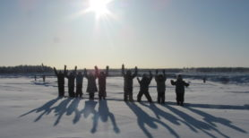 """""""Walk to Tuk"""" team 'Saagoti' from Fort Providence, NWT, snowshoeing along the Mackenzie River Trail"""