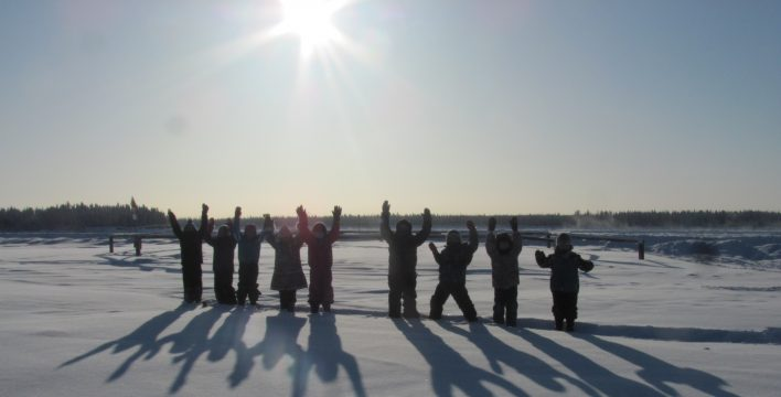 """Walk to Tuk"" team 'Saagoti' from Fort Providence, NWT, snowshoeing along the Mackenzie River Trail"