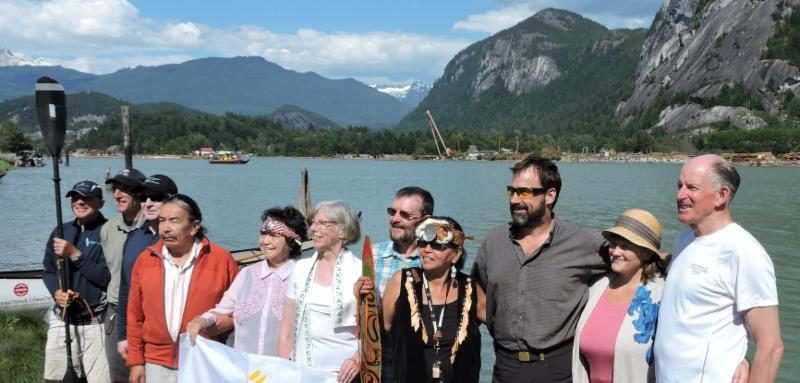 Representatives of Squamish Nation, B.C. Lieutenant Governor and TCT Champion Judith Guichon (centre, in white) and TCT Director Jim Bishop (far right)