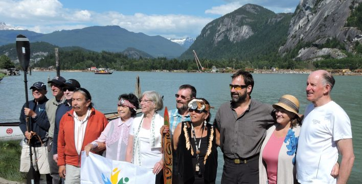 The official opening of the Sea to Sky Marine Trail, with representatives of Squamish Nation, B.C. Lieutenant Governor Judith Guichon, a TCT Champion (centre, in white), and TCT Director Jim Bishop (far left). Photo: Gordon McKeever