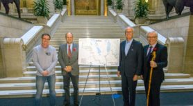 Left to right: Trails Manitoba Chair Ian Hughes, The Honourable Drew Caldwell, Minister of Municipal Government for Brandon East, TCT Foundation Co-Chair Hartley Richardson, and Manitoba Premier Greg Selinger