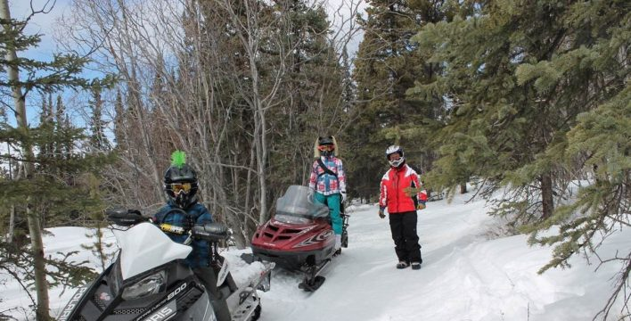 Mark Daniels and his kids enjoying a spring snowmobile ride on the TCT in the Mary Lake area south of Whitehorse.  Nita Daniels photo.