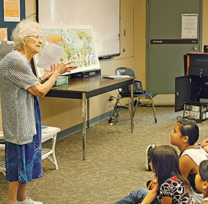 Nina presenting her map to students in 2015   Photo: Melissa Smalley