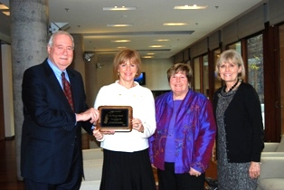 SATW Award Presentation with Doug Hall (SATW), Valerie Pringle, Catherine George and Deborah Apps