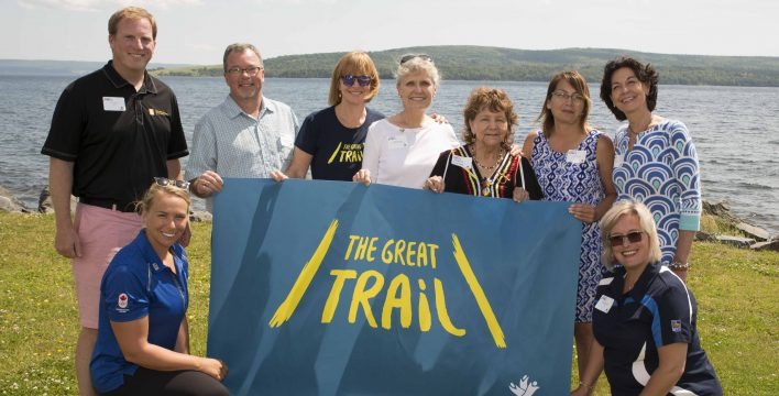 (L-R): Edward Steeves, Regional Vice President, Private Banking – Atlantic, RBC; Hannah Vaughan, Pan American Games gold medalist, World Cup medalist, RBC Olympian and multi-time national champion kayaker; Blaise MacEachern, Chair of the NS Trails TCT Committee; Valerie Pringle, TCT Foundation Co-Chair; Deborah Apps, TCT President & CEO; Phyllis Googoo, Elder, Waycobah First Nation; Susan Googoo, Director of Human Resources, Entrepreneurship and Skills Development with Waycobah First Nation; Patricia DePalma, Regional Vice-President, Cape Breton and Northeastern Nova Scotia, RBC; Valerie Chort, VP of Corporate Citizenship, RBC.