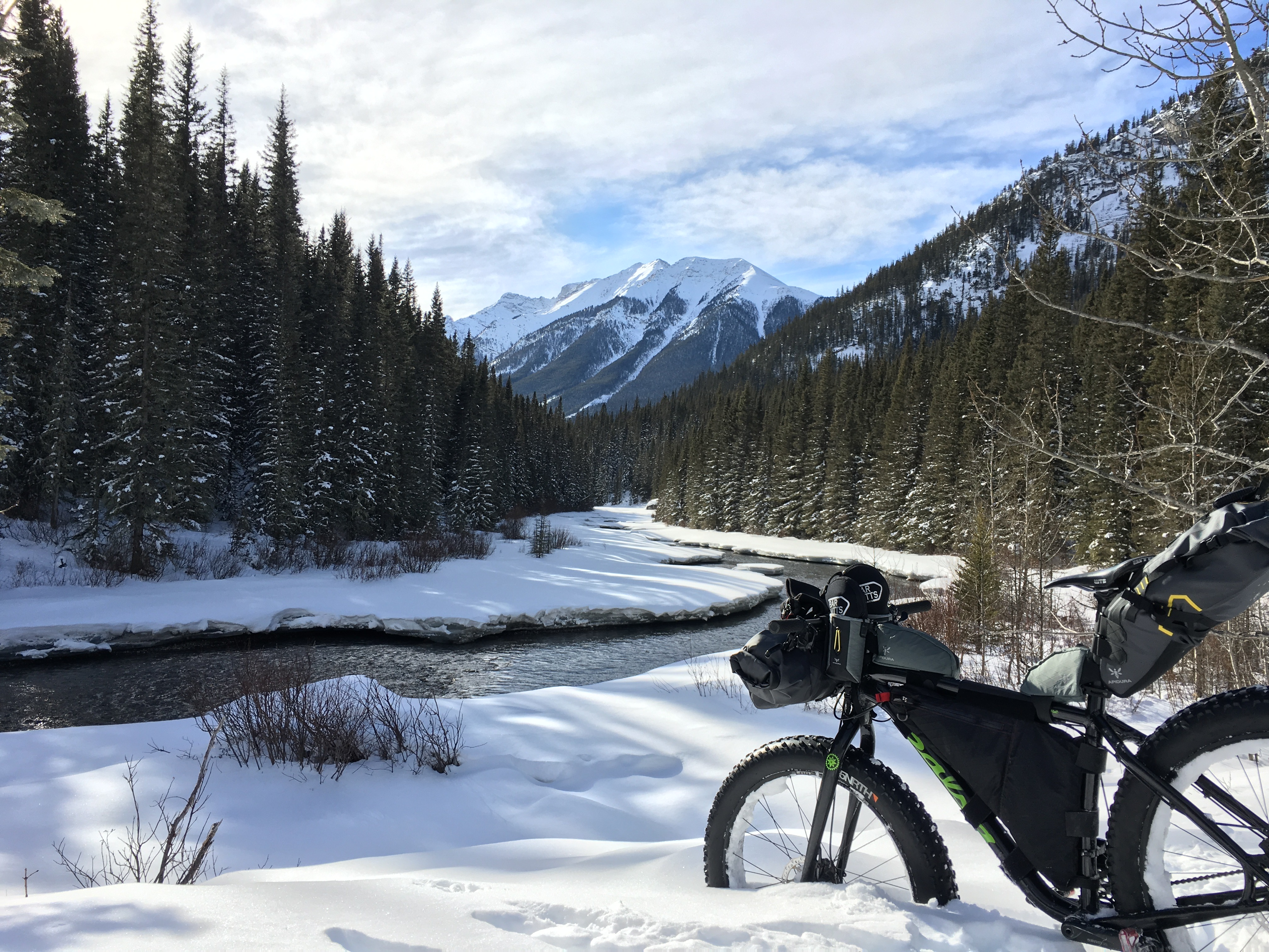 Bikepacking along the Goat Creek Trail, east of Banff. Photo by Ryan Correy