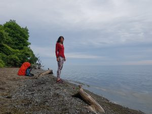 The Durham Region Trans Canada Trail led me into Ajax and to the shores of Lake Ontario. There I stood quietly resting my eyes on the calm water feeling my heart pounding in the soles of my feet.