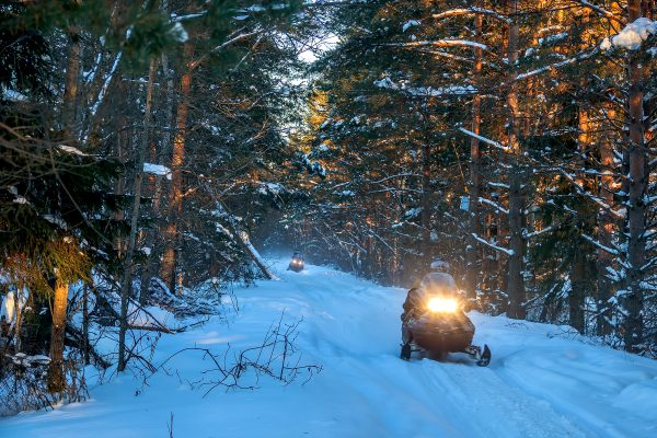 Two snowmobiles in single file along a snowy trail in Nova Scotia. The sun shines through the trees as the snowmobiles pass.