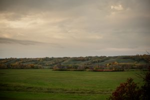 Rolling green hills and trees with orange leaves in the Qu'Appelle Valley, Saskatchewan, Canada.