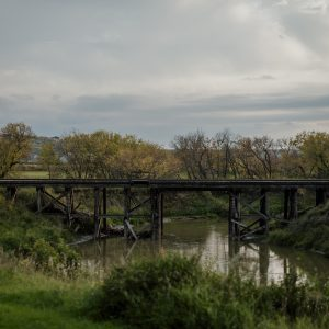 A view of a railway bridge over the Qu'Appelle River along the Lumsden Trail in Saskatchewan, Canada