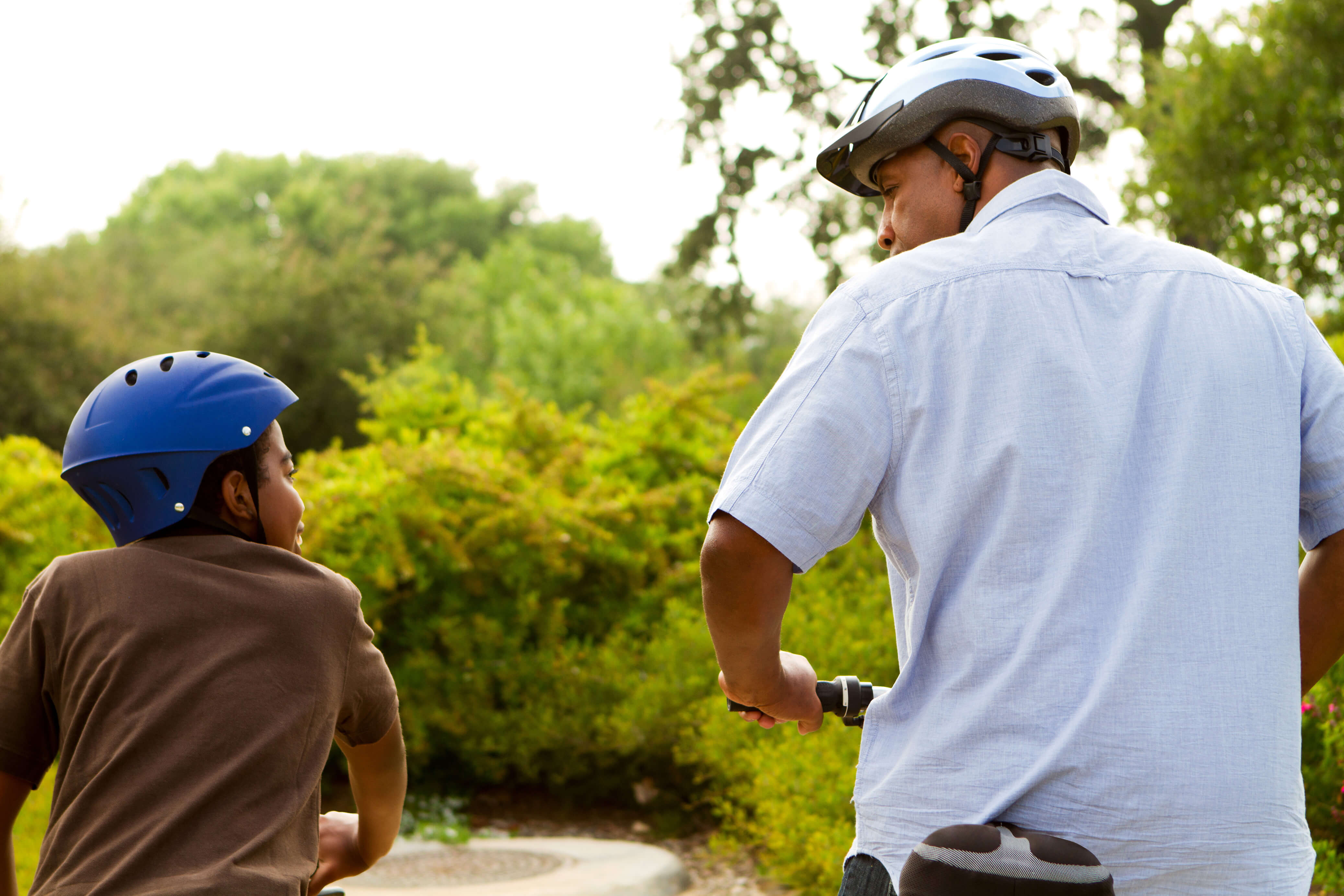 Father and Son enjoying a bike ride on the Caledon Wetland Trails, Ontario