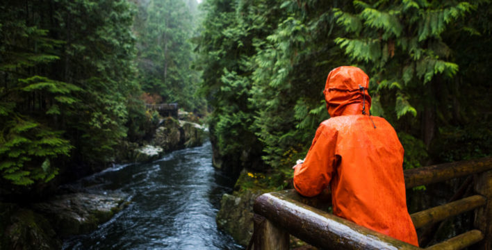 Person in orange hooded jacket overlooking river in forest