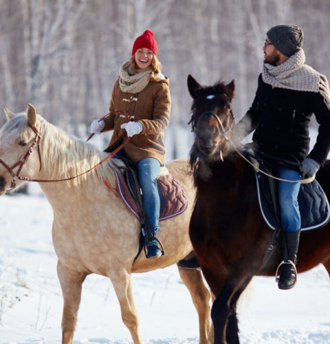 A couple horseback riding in a snowy forest